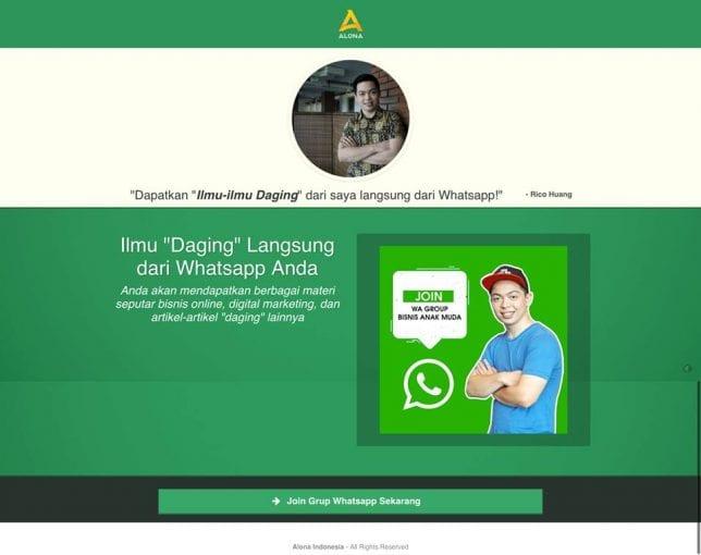 landing page whatsapp grup rico huang