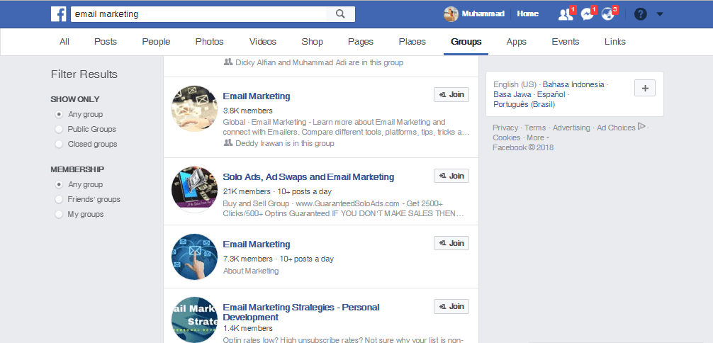 Facebook Group - Sumber Traffic Website Alternatif