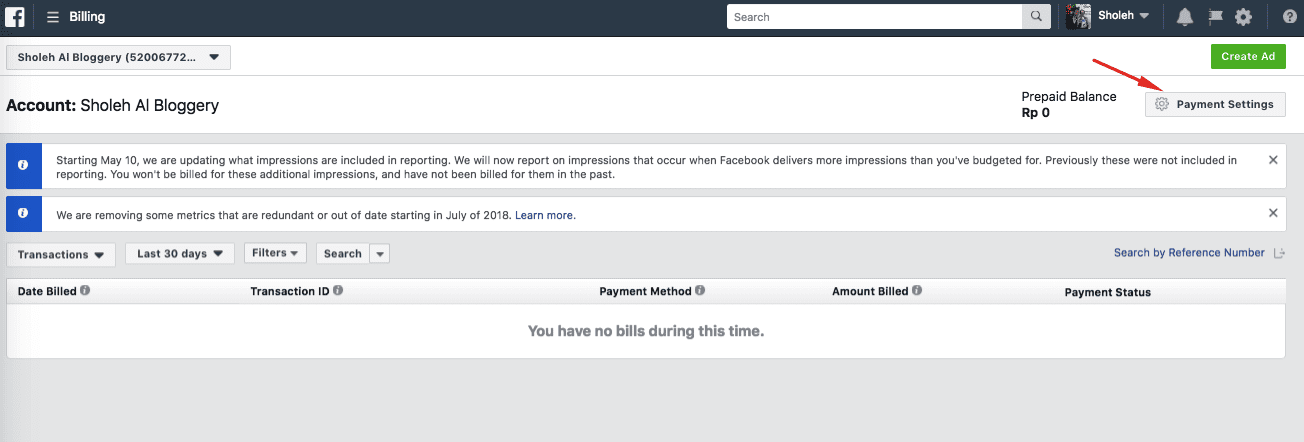 Cara Pembayaran Facebook Ads - 1