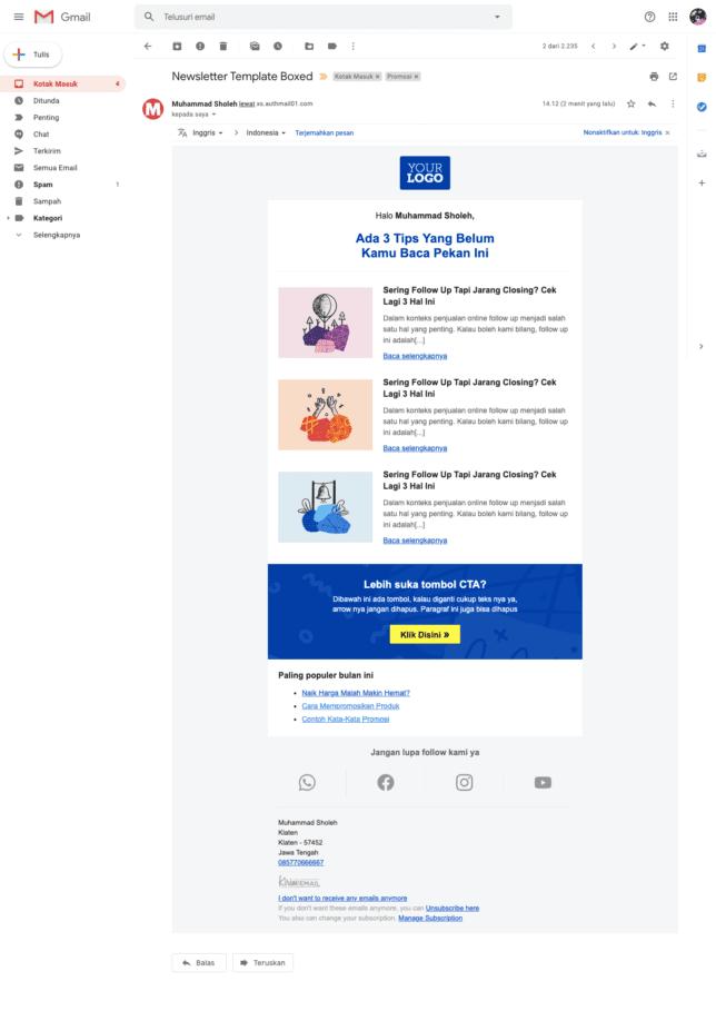 5 Contoh Desain Email Newsletter Template Gratis Untuk Perusahaan - 1