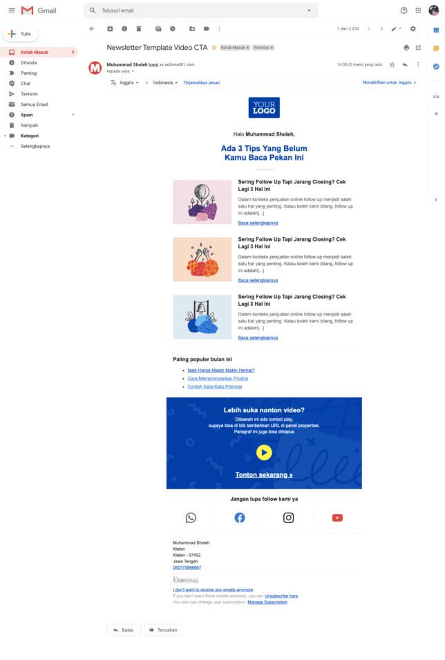 5 Contoh Desain Email Newsletter Template Gratis Untuk Perusahaan - 4