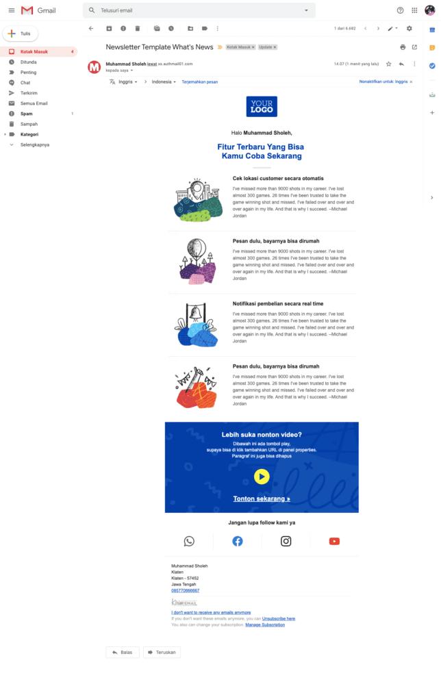 5 Contoh Desain Email Newsletter Template Gratis Untuk Perusahaan - 5