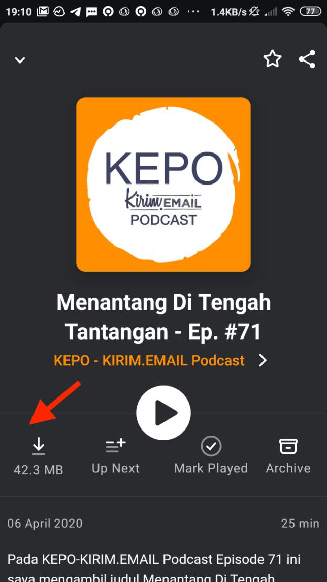 Tutorial Mendengarkan KEPO-KIRIM.EMAIL Podcast Dari Pocket Casts - 6