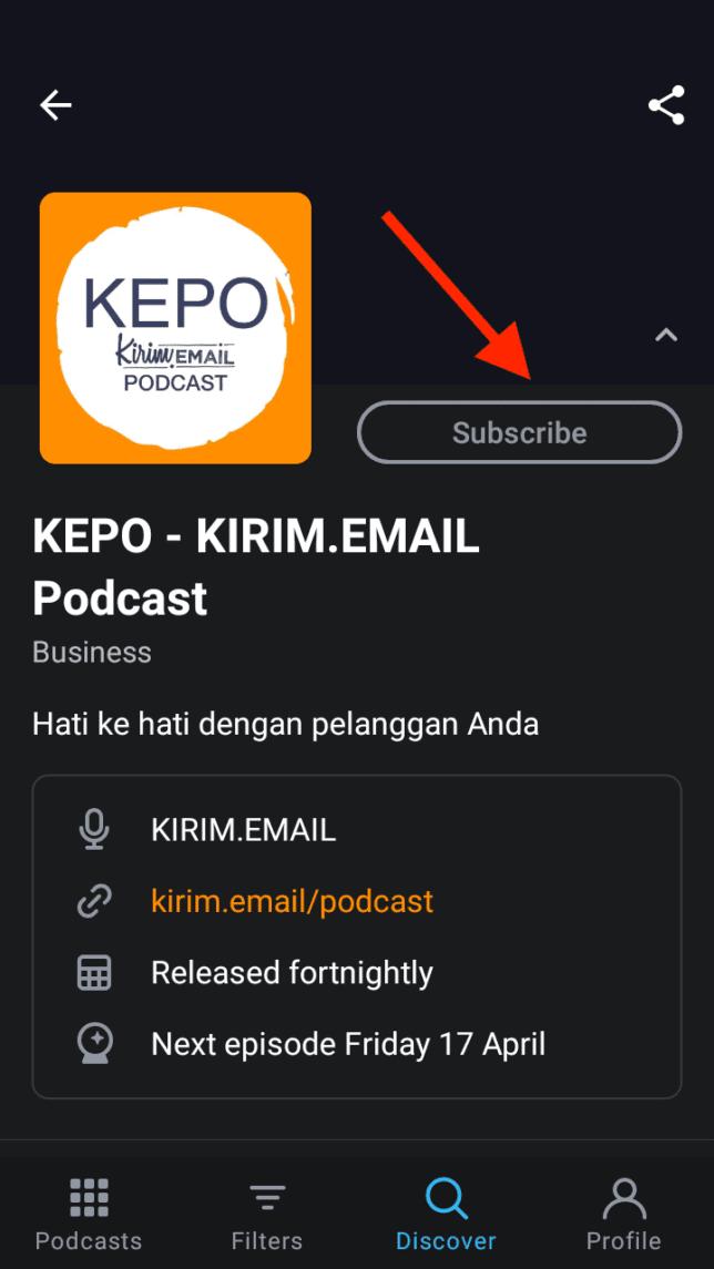 Tutorial Mendengarkan KEPO-KIRIM.EMAIL Podcast Dari Pocket Casts - 3