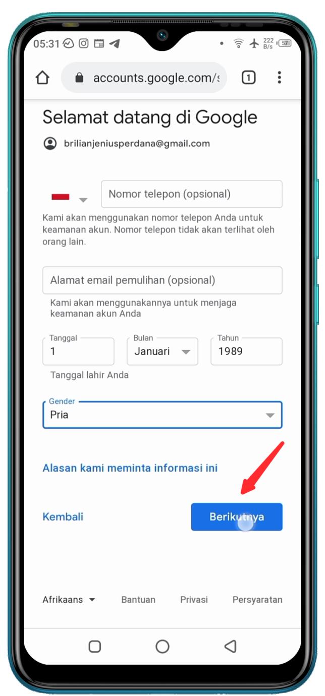 Cara Membuat Email Baru di HP Android - 4