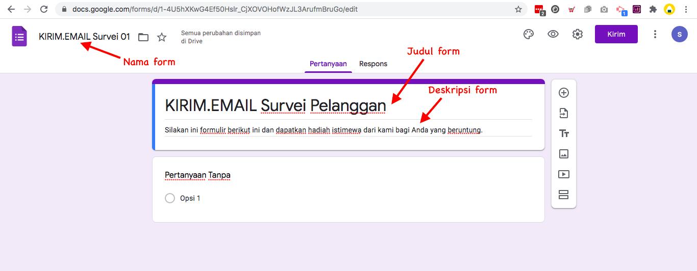 cara membuat kuesioner dengan google form  - tentukan nama form