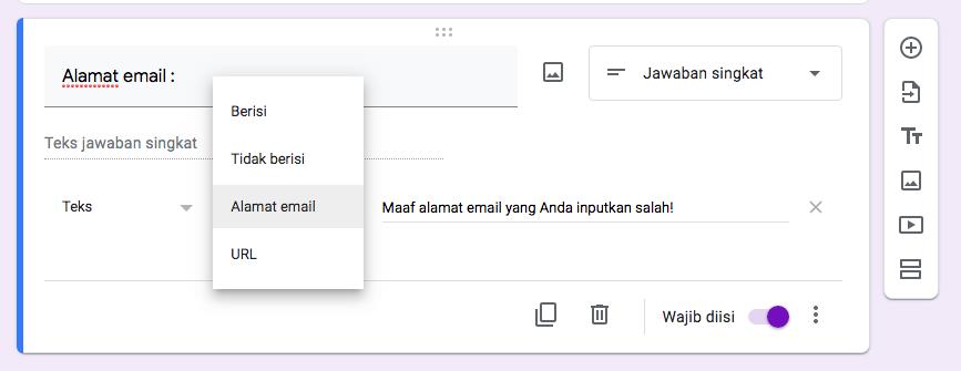 cara membuat kuesioner dengan google form - pesan error