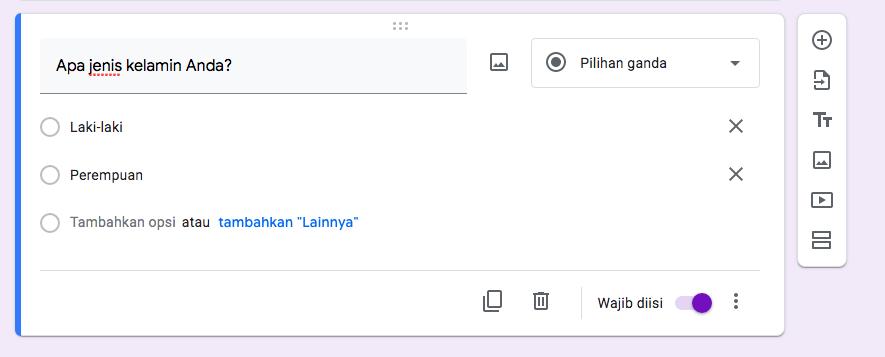 cara membuat kuesioner dengan google form - pertanyaan 2