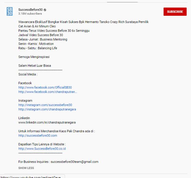 Contoh Deskripsi YouTube dan Tips Cara Membuatnya - 3