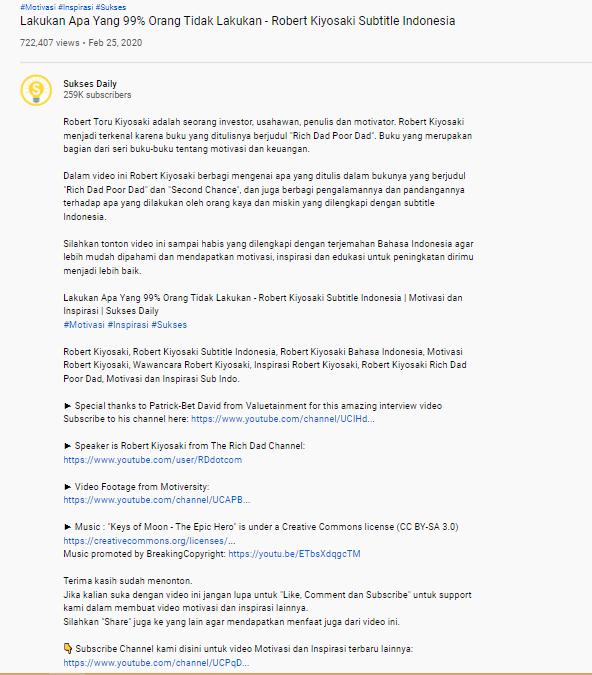 Contoh Deskripsi YouTube dan Tips Cara Membuatnya - 4